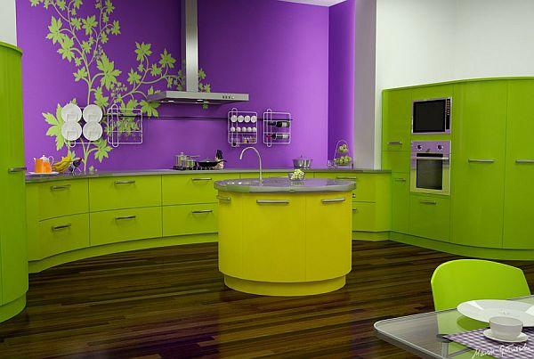 Кухня в зелено и лилаво